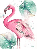 Watercolor Leaf Flamingo I