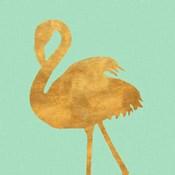 Teal Gold Flamingo