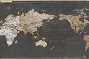World Map in Gold and Gray