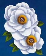 White Flowers on Blue I