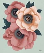 Pink Flowers on Mint II
