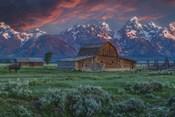 Grand Teton Mormon Barn At Sunrise