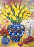 Yellow Tulips In A Blue & Gold Pot