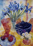 Irises & Dish Of Apples