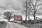 Springs Barn And Road BW