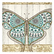 Damask Butterfly Teal 1