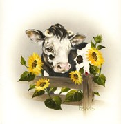 Cow & Sunflowers