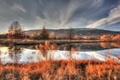 Autumn Pond And Cliffs