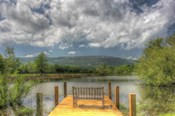 Pond Bench Dock and Mountain
