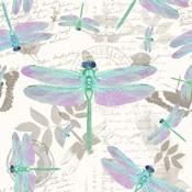 Vintage Botanicals Dragonfly Pattern Green