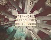 Teamwork Makes The Dream Work Stacking Hands Black and White