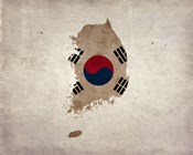 Map with Flag Overlay South Korea