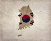 Map with Flag Overlay South Korea