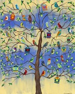 Bird and Bird Houses on Tree