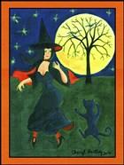 Halloween Witch Black Cat Moon Dance