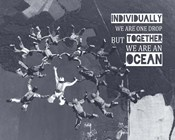 Together We Are An Ocean - Skydiving Team Grayscale