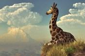 Giraffe And Distant Mountain