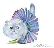 Kitten Ballerina Daisy Flower Stare Persian Cat