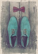Vintage Fashion Bow Tie and Shoes - Blue
