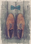 Vintage Fashion Bow Tie and Shoes - Brown