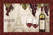 Wine in Paris I Damask Border