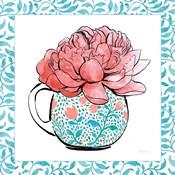 Floral Teacup I Vine Border