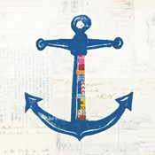 Nautical Collage III on Newsprint