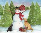 Snowman Dog And Cat Farm Horizontal