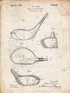 Metallic Golf Club Head Patent - Vintage Parchment