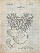 Engine Patent - Antique Grid Parchment