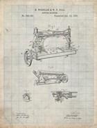 Sewing Machine Patent - Antique Grid Parchment