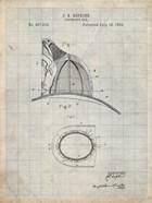 Fireman's Hat Patent - Antique Grid Parchment