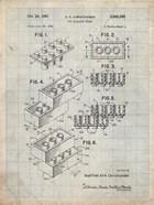 Toy Building Brick Patent - Antique Grid parchment