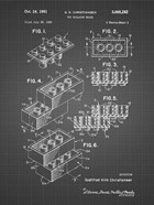 Toy Building Brick Patent - black grid
