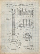 Guitar & Combined Bridge & Tailpiece Therefor Patent - Antique Grid Parchment