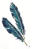 Gold Feathers III Indigo
