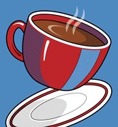 Red Coffee Cup On Blue