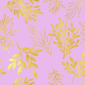 Golden Leaves on Pink Pattern
