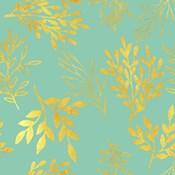 Golden Leaves Pattern Aquamarine