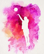 Basketball Girl Watercolor Silhouette Inverted Part IV