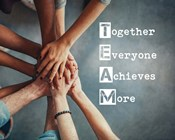 Together Everyone Achieves More - Stacking Hands