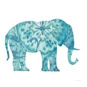 Boho Teal Elephant I
