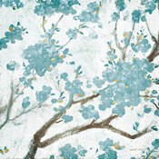Teal Cherry Blossoms I on Cream Aged no Bird