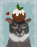 Grey Cat and Christmas Pudding