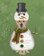 Yellow Labrador, Snowman Costume