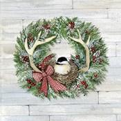 Holiday Wreath IV on Wood