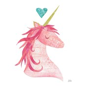 Unicorn Magic II Heart Sq Pink