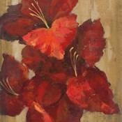 Vivid Red Gladiola on Gold Crop