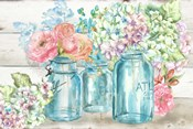 Colorful Flowers in Mason Jar Landscape