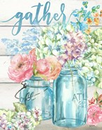 Colorful Flowers in Mason Jar Gather